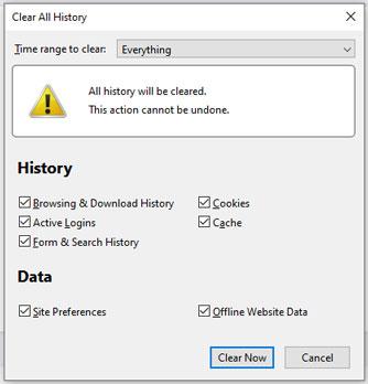 firefox clear all history menu